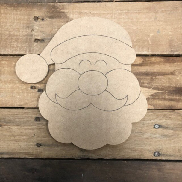 Santa From Home Kit, Unfinished Wooden Craft, Paint by Line