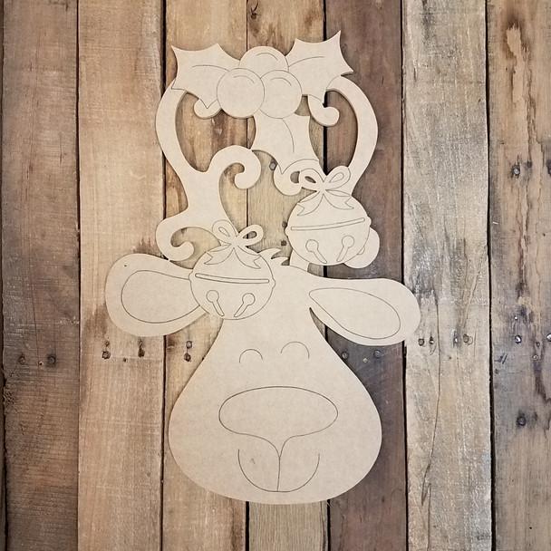 Reindeer With Mistletoe Cutout, Shape, Paint by Line