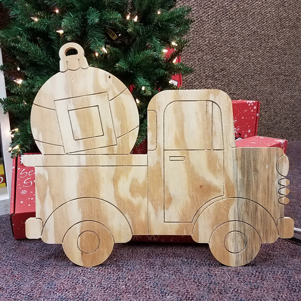 Truck with Ornament Cutout, Unfinished Large Pine Yard Display Art, Photo Prop