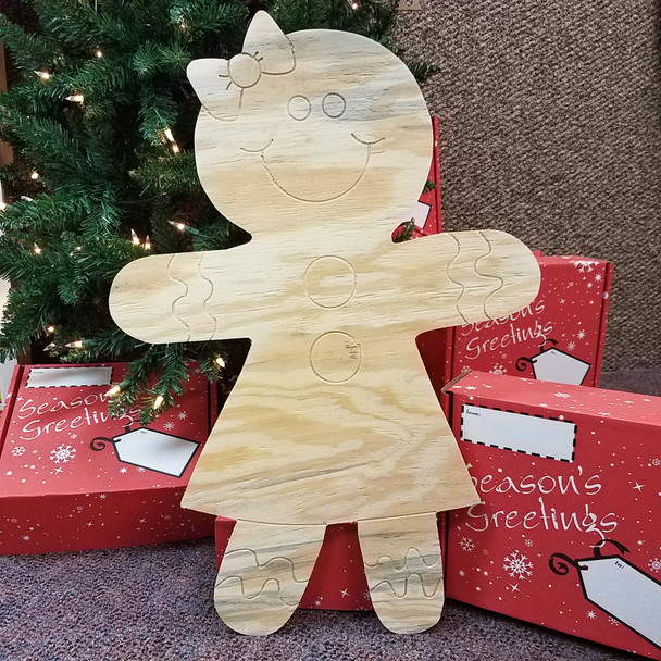 Gingerbread Girl, Unfinished Large Pine Yard Display Art, Photo Prop