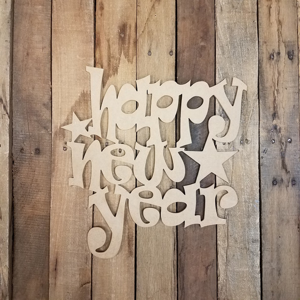 Happy New Year Shape Phrase, Unfinished Craft Word Paintable DIY