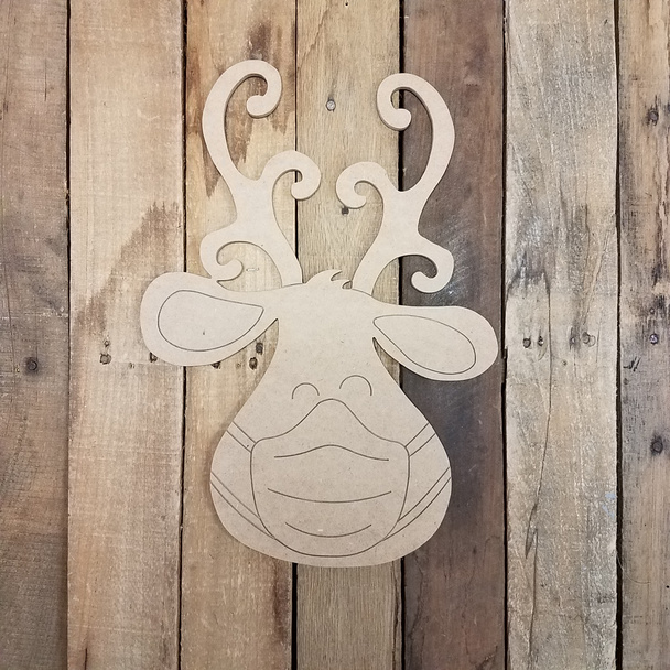 Reindeer With Mask Cutout, Shape, Paint by Line