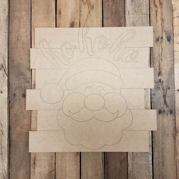 Hohoho Santa Christmas Shiplap, Wood Cutout, Shape, Paint by Line WS