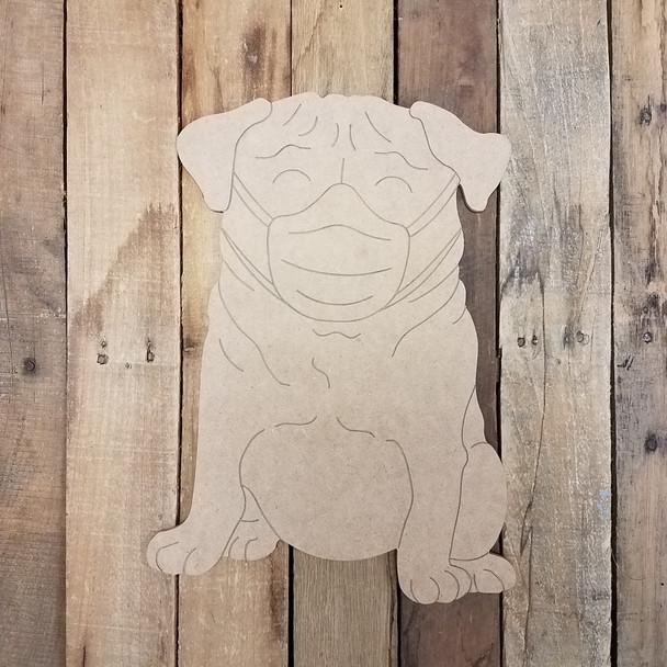 Pug Dog Wearing Mask, Wood Cutout, Shape, Paint by Line