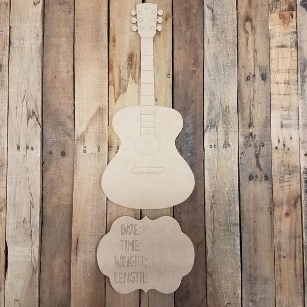 Acoustic Guitar Hospital Plaque, Baby Announcement, Paint by Line