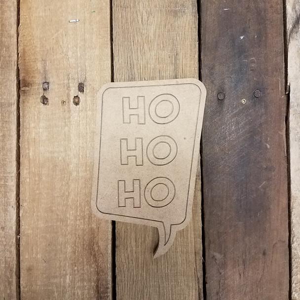 Ho Ho Ho Speech bubble, Paint by Line Wooden Shape