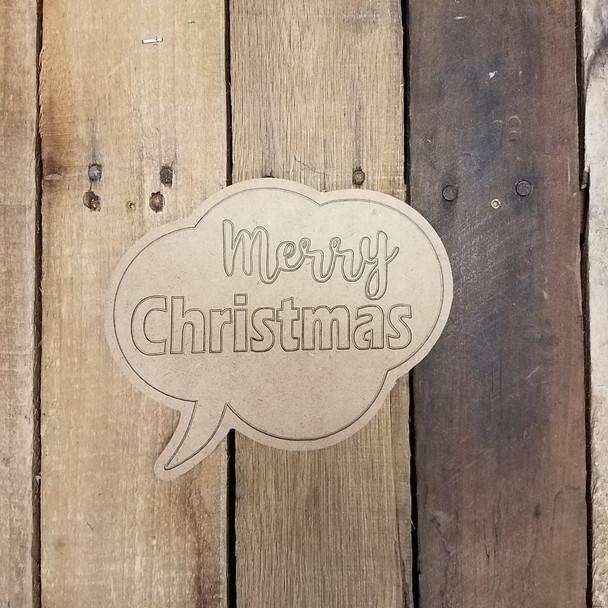 Merry Christmas Speech Bubble, Paint by Line Wooden Shape