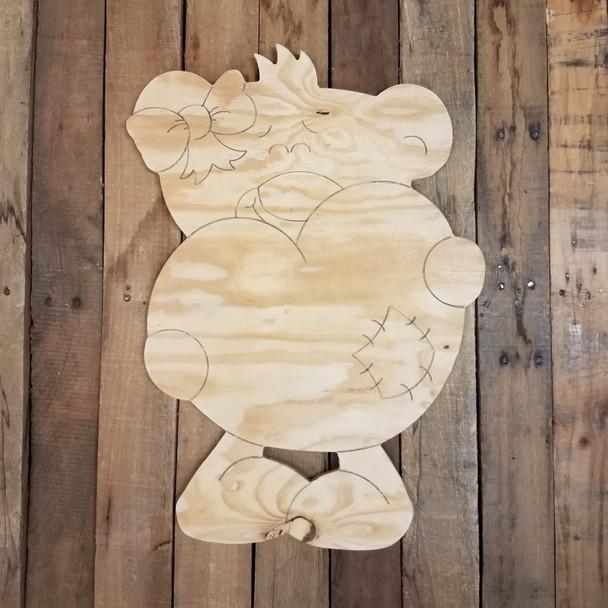 Valentine's Teddy Bear Holding Heart, Large Pine Yard Display, Photo Prop