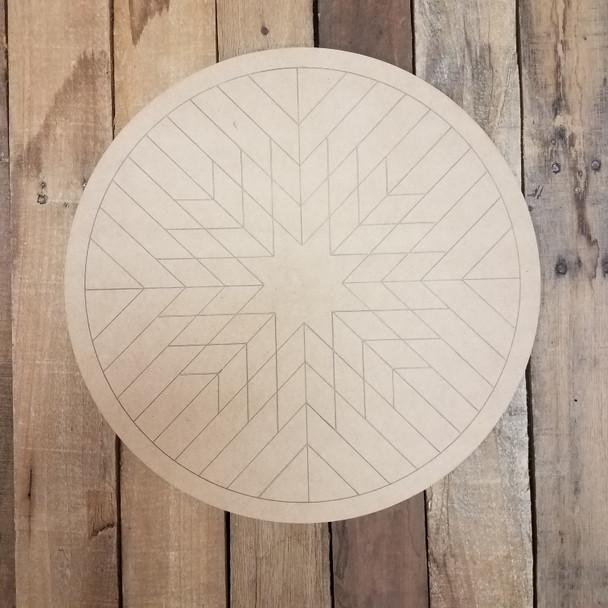 Wood Geometric Art Pattern Circle, Boho Style Unfinished Wood Shape