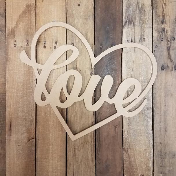 Valentine Love Word Heart Outline, Wooden Unfinished DIY Craft