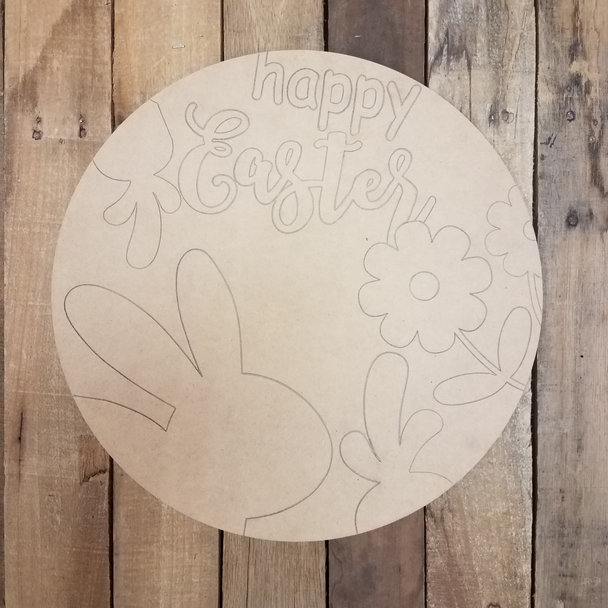 Happy Easter Bunny Flower Circle,  Wood Cutout, Shape, Paint by Line