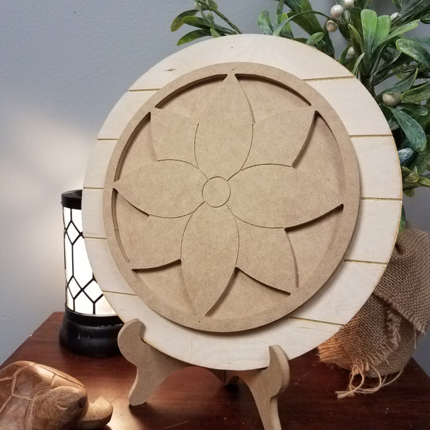 Flower Stackable Circle Easel Kit, Engraved DIY Craft Decor Set