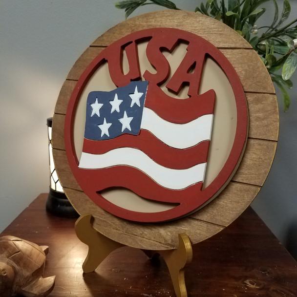 USA American Flag Stackable Circle Easel Kit, Engraved DIY Craft Decor Set