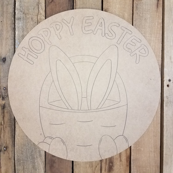 Hoppy Easter Bunny in Basket Circle,  Wood Cutout, Shape, Paint by Line