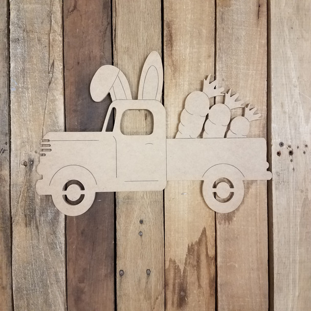 Antique Easter Bunny Truck with Carrots, Unfinished Wood Shape