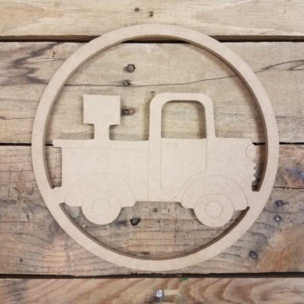 Interchangeable Side View Pickup Truck Seasonal Circle Easel Kit, Engraved DIY Craft Decor Set