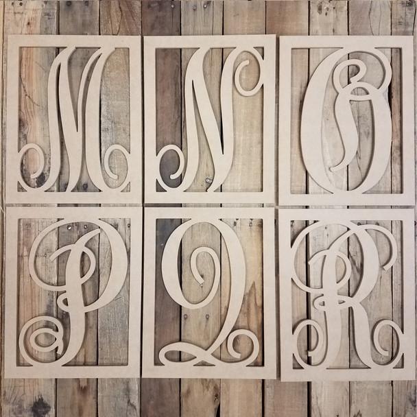 Cursive Rectangle Framed Monogram Letter Wooden Unfinished DIY Craft