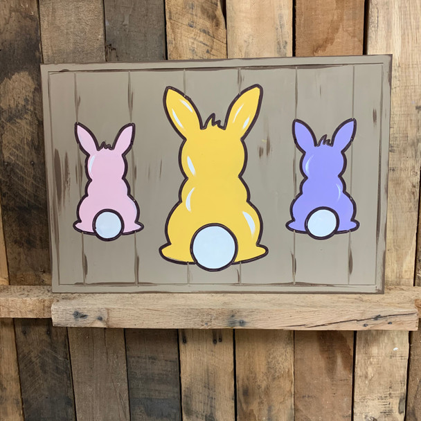 3 Bunnies Seasonal Beaded Board Plaque,  Wooden Cutout, Paint by Line
