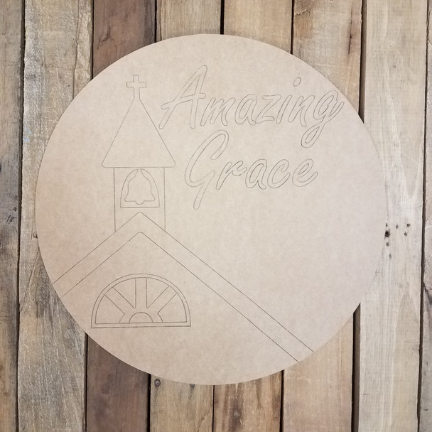 Amazing Grace Church Circle, Unfinished Craft, Paint by Line