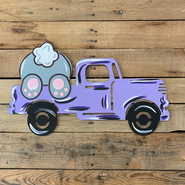 Bunny Climbing in Antique Truck, Paint by Line Unfinished Wood Shape