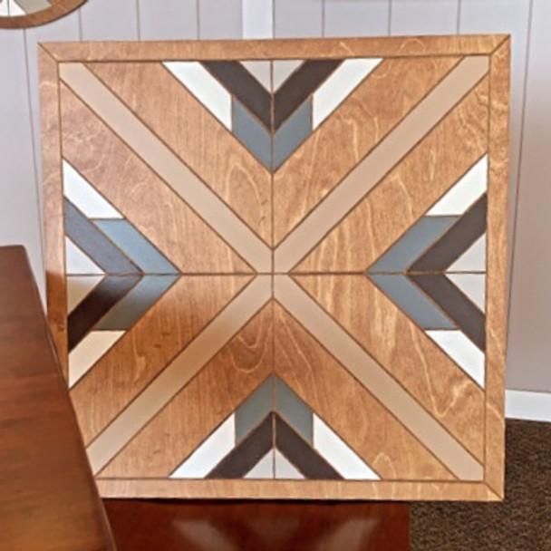 Boho DIY Geometric Art Square, Unfinished Wood Shape Paint by Line