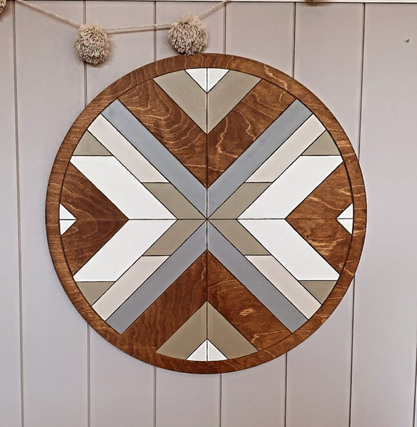Boho DIY Geometric Art Circle Stained and Painted