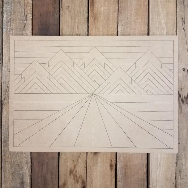 Mountain Road Boho Decor Rectangle, Wood Shape, Paint by Line