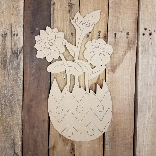 Spring Flowers in Easter Egg Wood Cutout, Shape, Paint by Line