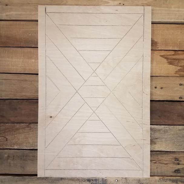 Boho Style Art Rectangle, Unfinished Pine Wood Shape Paint by Line