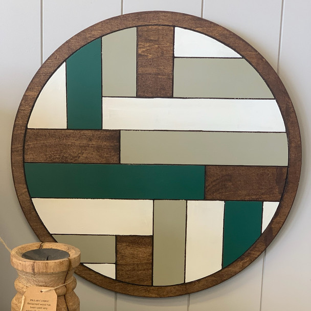 Boho Geometric Wall Art Circle Stained and Painted