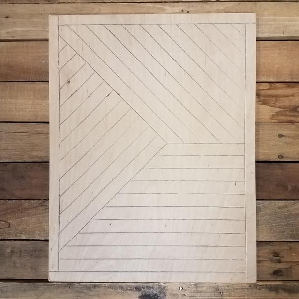 Rectangle Boho Wall Art, Unfinished Pine Wood Shape Paint by Line