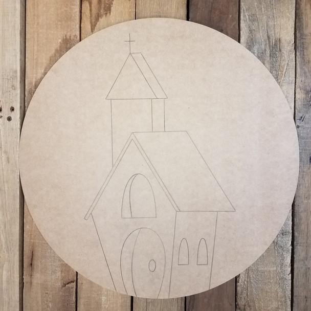 Church Building Circle Wooden Craft Shape