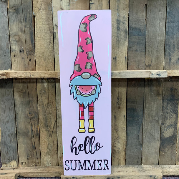 Hello Summer Tall Gnome Sign, Wooden Shape, Paint by Line