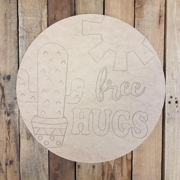 Free Hugs Cactus Circle Wood Shape Paint by Line