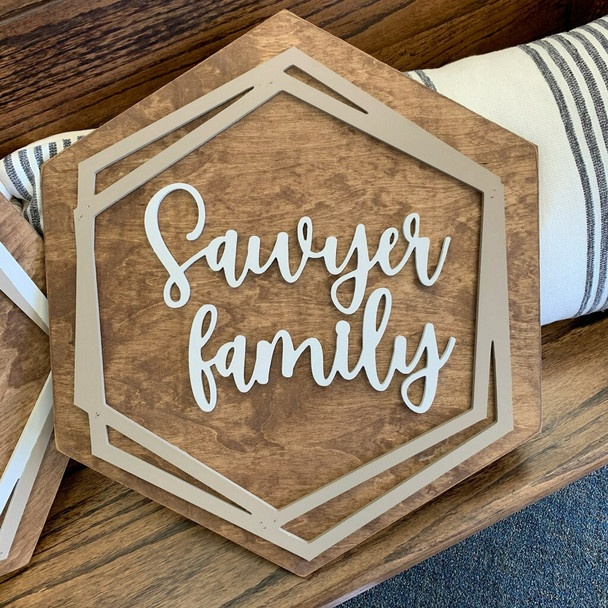 Boho Name Kit Family Name Sign Stained and Painted