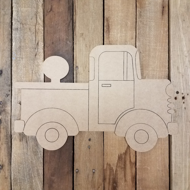 Side View Retro Truck Set Wooden Base Piece