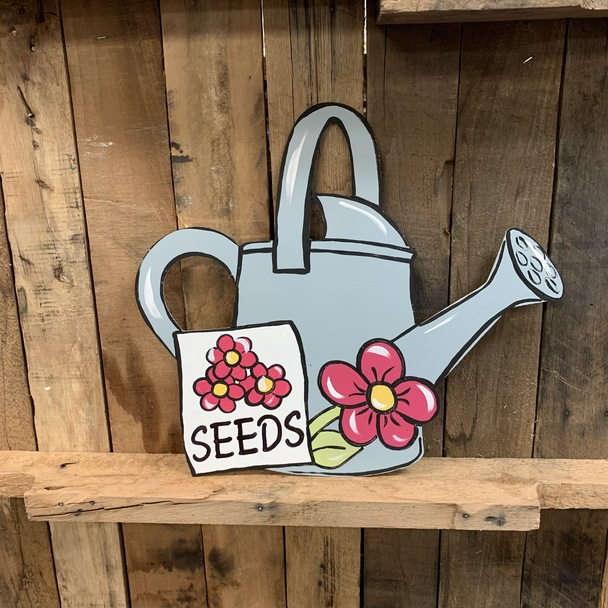 Spring Watering Can with Seeds Wood Shape, Paint by Line