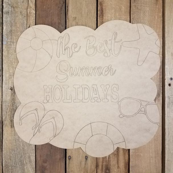 Best Summer Holidays Cloud Plaque, Paint by Line Craft Shape