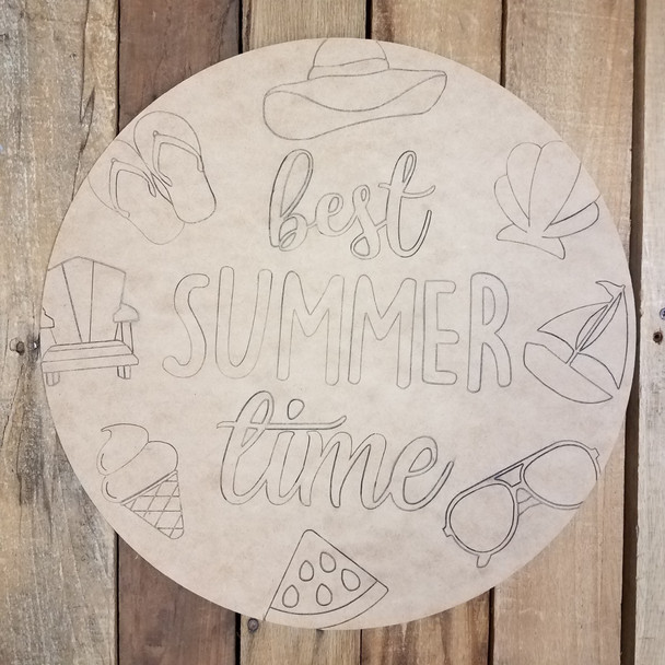 Best Summer Time Circle, Unfinished Shape, Paint by Line