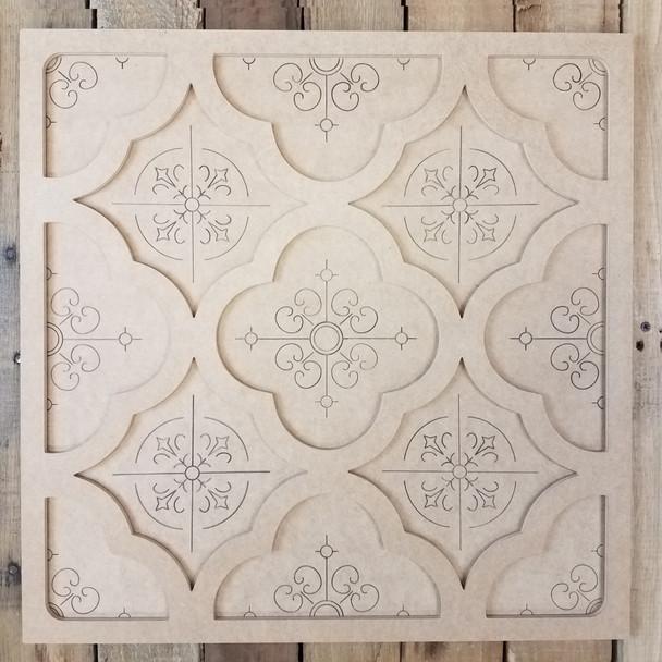 Circle Pattern Spanish Tile Decor Set, Unfinished Paint By Line