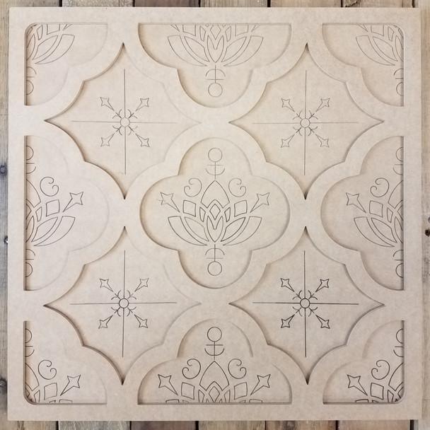 Floral Pattern Spanish Tile Décor Set, Unfinished Paint By Line