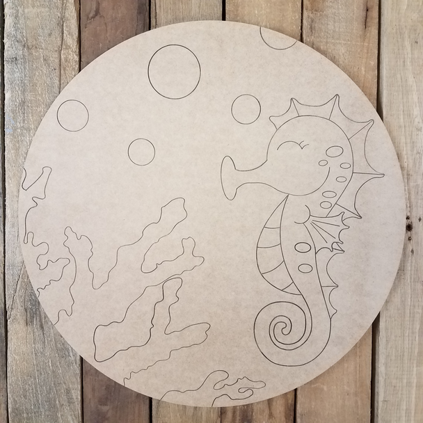 Seahorse Ocean Circle, Unfinished Shape, Paint by Line