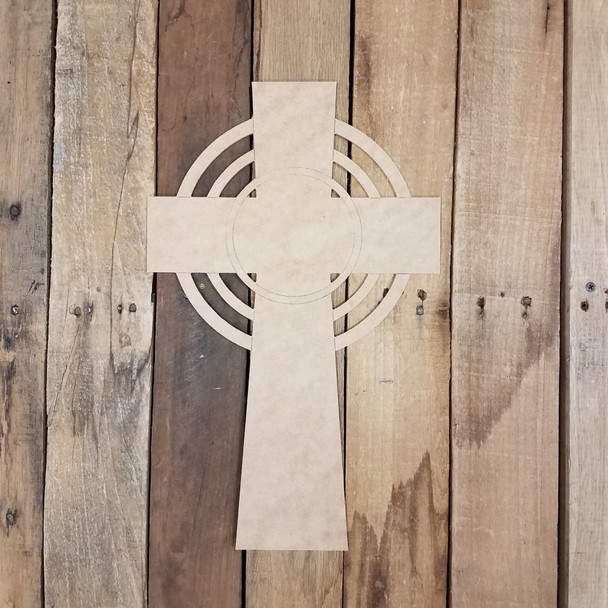 Celtic Halo Cross Craft Cutout, Unfinished Wooden Shape, Paint By Line