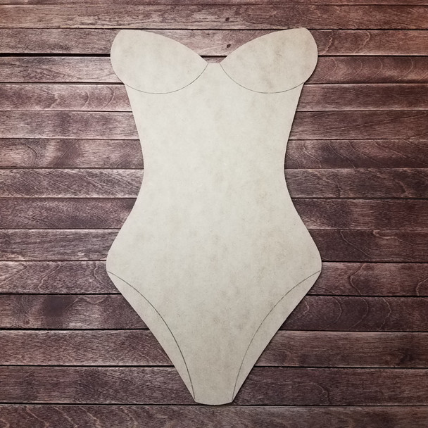Summer 1 Piece Swim Suit, Wooden Craft Shape, Paint by Line