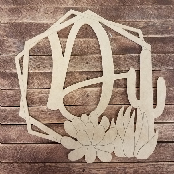 Succulent Hexagon Boho Monogram, Unfinished DIY Shape
