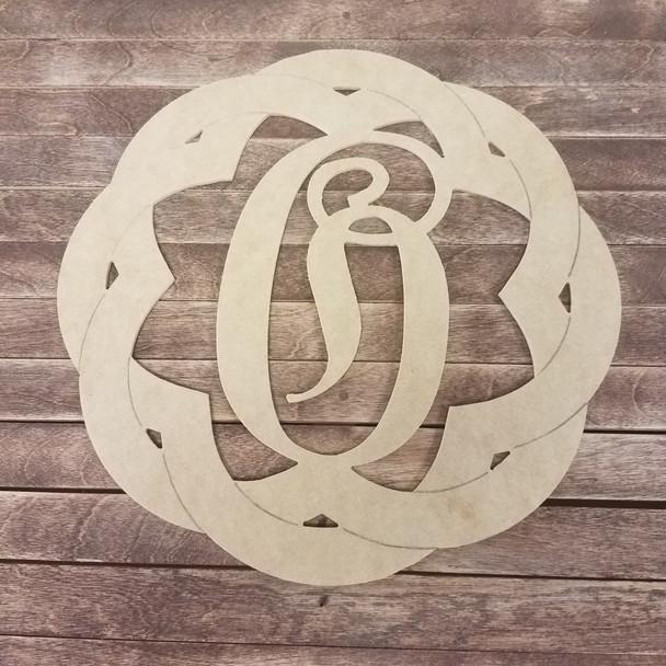 Boho Weave Cursive Décor Monogram, Unfinished DIY Shape