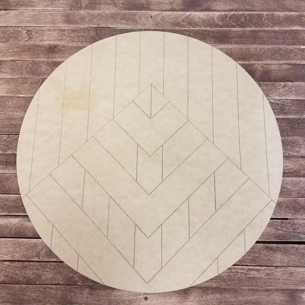 Geometric Mountain Art Circle, Boho Style Paint by Line Unfinished Wood Shape