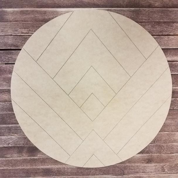 Mountain Art Circle, Boho Style Paint by LineUnfinished Wood Shape