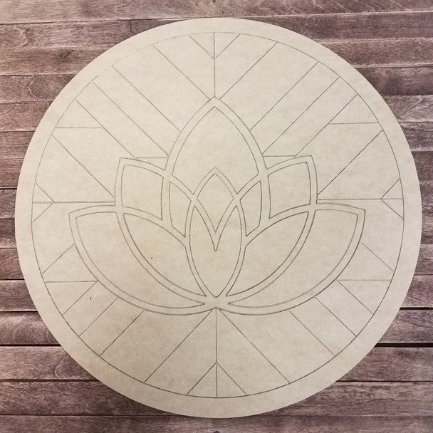 Carolina Queen Lotus, Boho Style Paint by Line Unfinished Wood Shape