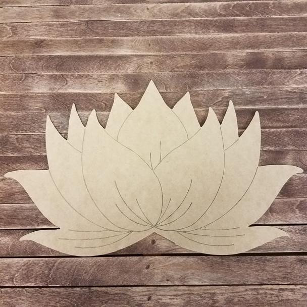 Lotus Blossom Flower, Boho Style Paint By Line Unfinished Wood Shape